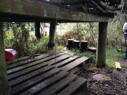 Under the pallet shack