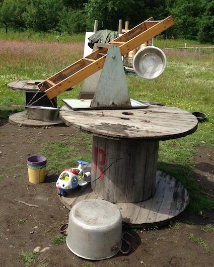 Mud kitchen cable drum